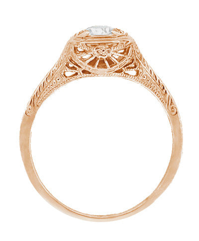 Filigree Scrolls Engraved White Sapphire Engagement Ring in 14 Karat Rose ( Pink ) Gold - Item: R183RWS - Image: 1