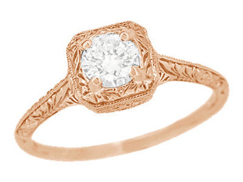 Filigree Scrolls Engraved White Sapphire Engagement Ring in 14 Karat Rose ( Pink ) Gold