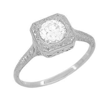 Filigree Scrolls 3/4 Carat Diamond Engraved Engagement Ring in 14 Karat White Gold
