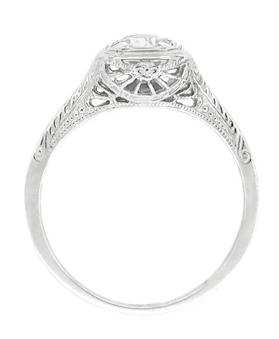 Filigree Scrolls 1/4 Carat Diamond Engraved Art Deco Engagement Ring in 14 Karat White Gold - Item: R183W25D - Image: 1