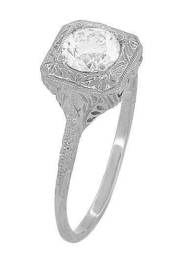 Filigree Scrolls 1/2 Carat Diamond Engraved Engagement Ring in 14 Karat White Gold - Item: R183W75D - Image: 2