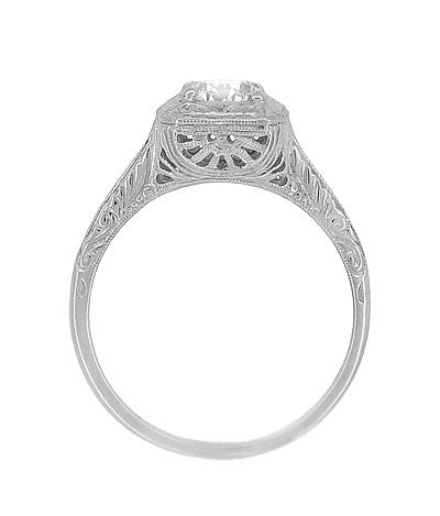 Filigree Scrolls 1/2 Carat Diamond Engraved Engagement Ring in 14 Karat White Gold - Item: R183W75D - Image: 4