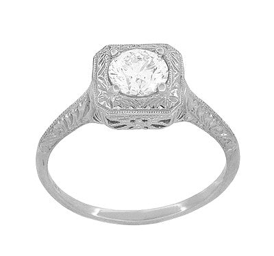 Filigree Scrolls 1/2 Carat Diamond Engraved Engagement Ring in 14 Karat White Gold - Item: R183W75D - Image: 1