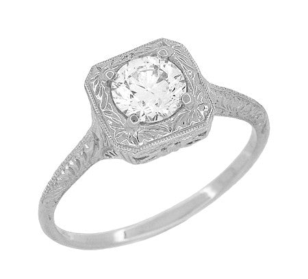 Filigree Scrolls 1/2 Carat Diamond Engraved Engagement Ring in 14 Karat White Gold