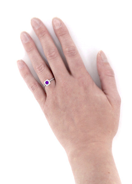 Art Deco Filigree Scrolls Engraved Amethyst Engagement Ring in 14 Karat White Gold - Item: R183WAM - Image: 4
