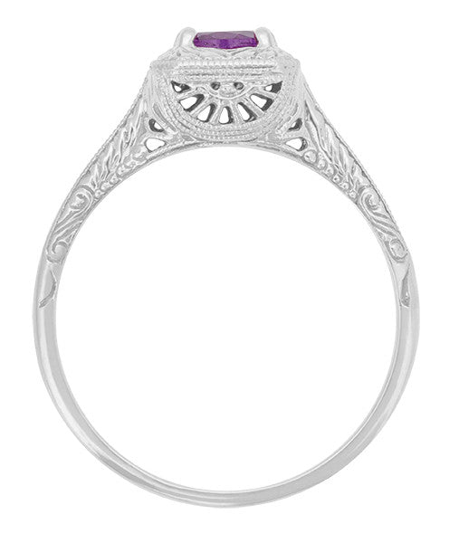 Art Deco Filigree Scrolls Engraved Amethyst Engagement Ring in 14 Karat White Gold - Item: R183WAM - Image: 1