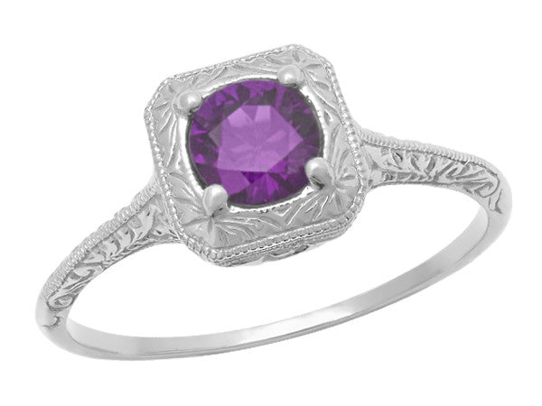 Art Deco Filigree Scrolls Engraved Amethyst Engagement Ring in 14 Karat White Gold