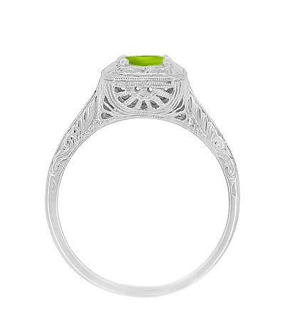 Peridot Filigree Scrolls Engraved Engagement Ring in 14 Karat Whte Gold - Item: R183WPER - Image: 1