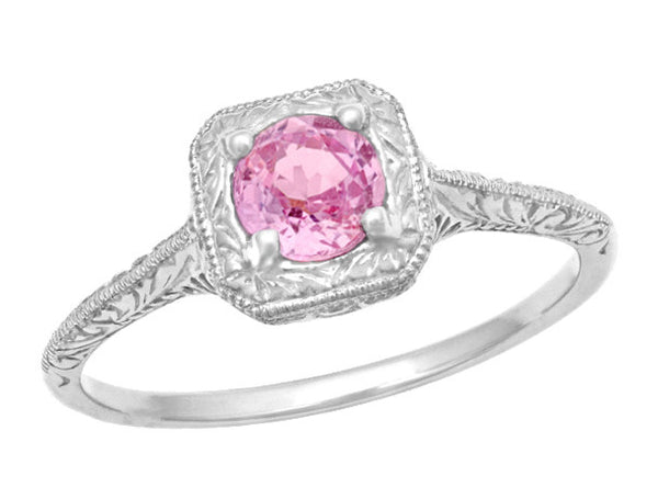 Filigree Scrolls Engraved Pink Sapphire Engagement Ring in 14 Karat White Gold