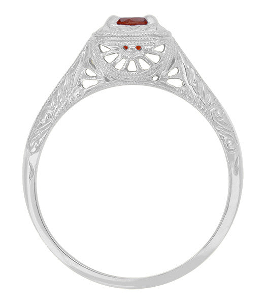 Filigree Scrolls Engraved Ruby Engagement Ring in 14 Karat White Gold - Item: R183WR - Image: 1