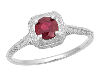 Filigree Scrolls Engraved Ruby Engagement Ring in 14 Karat White Gold