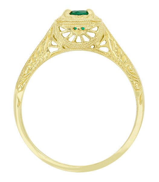 Engraved Scrolls Filigree Emerald Engagement Ring in 14 Karat Yellow Gold - Item: R183Y - Image: 1
