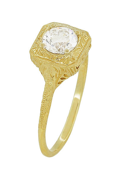 Filigree Scrolls Vintage Engraved 3/4 Carat Diamond Art Deco Engagement Ring in 14 Karat Yellow Gold - Item: R183Y1D - Image: 2