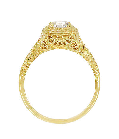 Filigree Scrolls Vintage Engraved 3/4 Carat Diamond Art Deco Engagement Ring in 14 Karat Yellow Gold - Item: R183Y1D - Image: 4