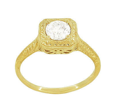Filigree Scrolls Vintage Engraved 3/4 Carat Diamond Art Deco Engagement Ring in 14 Karat Yellow Gold - Item: R183Y1D - Image: 1