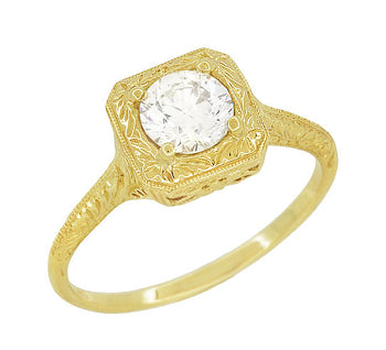 Filigree Scrolls Vintage Engraved 3/4 Carat Diamond Art Deco Engagement Ring in 14 Karat Yellow Gold