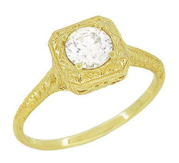 Filigree Engraved Scrolls 1/2 Carat Diamond Engagement Ring in 14 Karat Yellow Gold