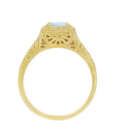 Aquamarine Art Deco Filigree Scrolls Engraved Engagement Ring in 14 Karat Yellow Gold - Item: R183YA - Image: 1