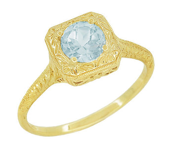 Aquamarine Art Deco Filigree Scrolls Engraved Engagement Ring in 14 Karat Yellow Gold