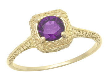 Art Deco Amethyst Filigree Scrolls Engraved Engagement Ring in 14 Karat Yellow Gold