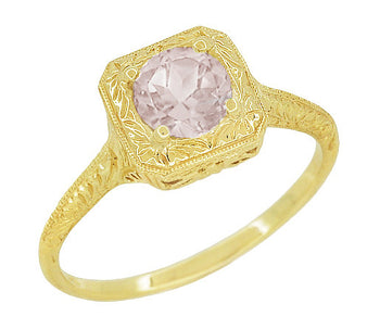 Morganite Filigree Scrolls Engraved Engagement Ring with in 14 Karat Yellow Gold