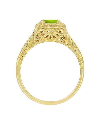 Peridot Filigree Scrolls Engraved Engagement Ring in 14 Karat Yellow Gold - Item: R183YPER - Image: 1