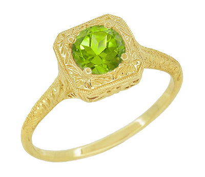 Peridot Filigree Scrolls Engraved Engagement Ring in 14 Karat Yellow Gold