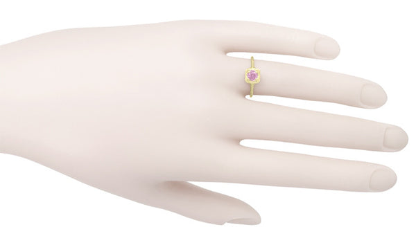 Filigree Scrolls Engraved Pink Sapphire Engagement Ring in 14 Karat Yellow Gold - Item: R183YPS - Image: 3