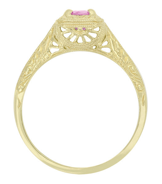 Filigree Scrolls Engraved Pink Sapphire Engagement Ring in 14 Karat Yellow Gold - Item: R183YPS - Image: 1