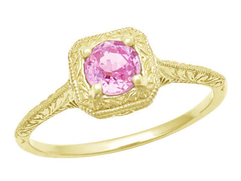 Filigree Scrolls Engraved Pink Sapphire Engagement Ring in 14 Karat Yellow Gold