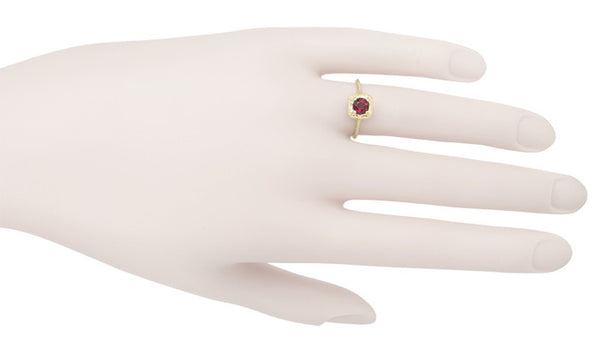 Filigree Scrolls Engraved Ruby Engagement  Ring in 14 Karat Yellow Gold - Item: R183YR - Image: 3