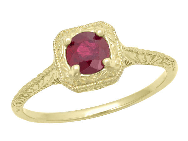 Filigree Scrolls Engraved Ruby Engagement  Ring in 14 Karat Yellow Gold