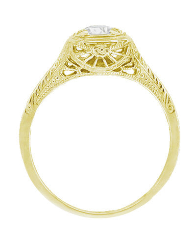 Filigree Scrolls Engraved White Sapphire Engagement Ring in 14 Karat Yellow Gold - Item: R183YWS - Image: 1