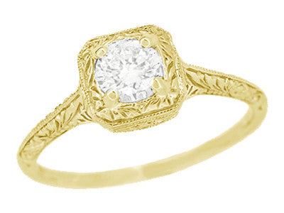 Filigree Scrolls Engraved White Sapphire Engagement Ring in 14 Karat Yellow Gold