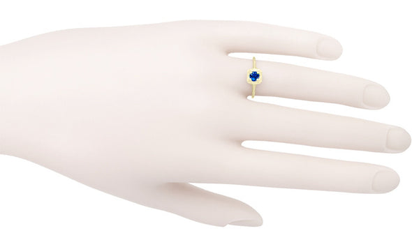 Filigree Scrolls Engraved Sapphire Engagement Ring in 14 Karat Yellow Gold - Item: R184Y - Image: 3