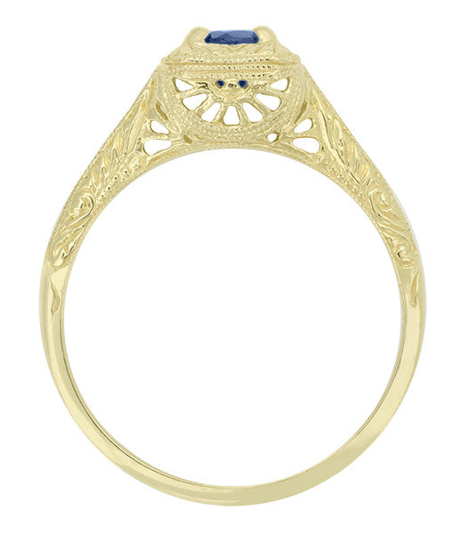 Filigree Scrolls Engraved Sapphire Engagement Ring in 14 Karat Yellow Gold - Item: R184Y - Image: 1