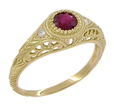 Art Deco Engraved Ruby and Diamond Filigree Engagement Ring in 18 Karat Yellow Gold - Item: R189Y - Image: 2