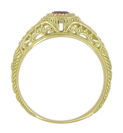 Art Deco Engraved Ruby and Diamond Filigree Engagement Ring in 18 Karat Yellow Gold - Item: R189Y - Image: 3