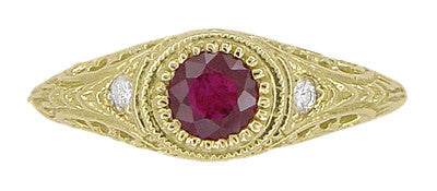 Art Deco Engraved Ruby and Diamond Filigree Engagement Ring in 18 Karat Yellow Gold - Item: R189Y - Image: 5
