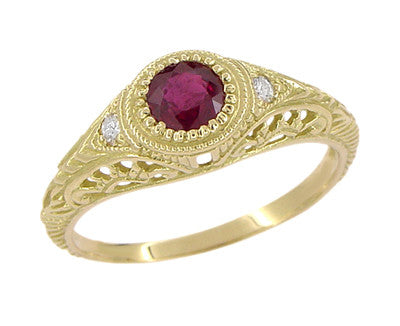 Art Deco Engraved Ruby and Diamond Filigree Engagement Ring in 18 Karat Yellow Gold - Item: R189Y - Image: 1