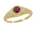 1920's Art Deco Yellow Gold Ruby Filigree Engagement Ring with Side Diamonds
