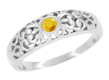 Scroll Filigree Edwardian Citrine Ring in 14 Karat White Gold