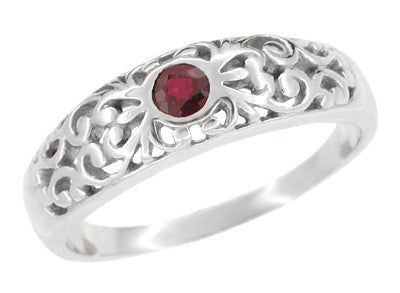 Edwardian Filigree Ruby Ring in Palladium