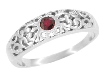 Filigree Edwardian Ruby Ring in Platinum