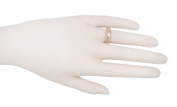 Filigree White Sapphire Ring in 14 Karat Rose Gold - Item: R197RPWS - Image: 2