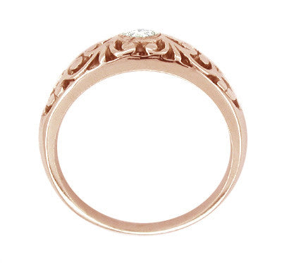 Filigree White Sapphire Ring in 14 Karat Rose Gold - Item: R197RPWS - Image: 1