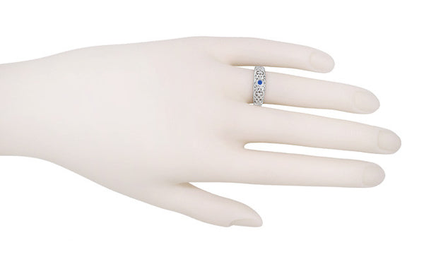 Edwardian Filigree Blue Sapphire Ring in 14 Karat White Gold - Item: R197S - Image: 2