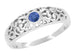 Edwardian Filigree Blue Sapphire Ring in 14 Karat White Gold