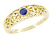 Edwardian Scroll Filigree Sapphire Ring in 14 Karat Yellow Gold
