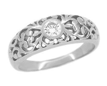 Edwardian Filigree White Sapphire Ring in 14 Karat White Gold